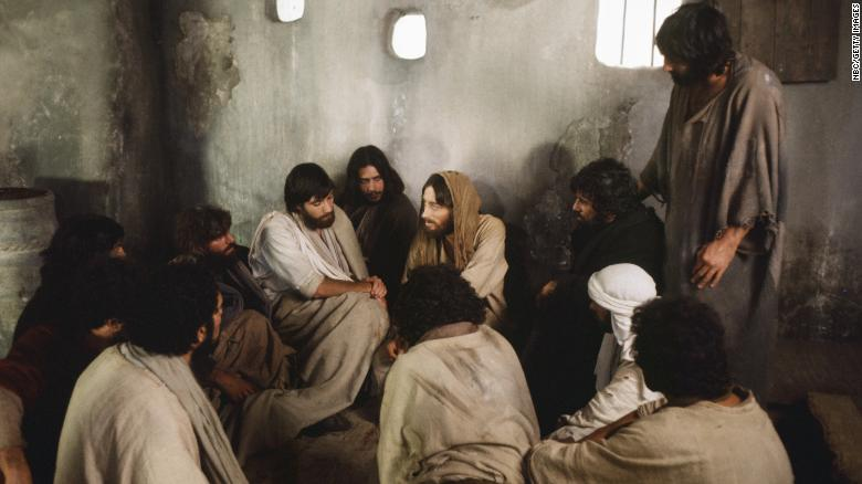"""In the film """"Jesus of Nazareth,"""" Jesus, played by Robert Powell, appears to the disciples after his resurrection."""