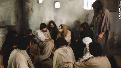 "In the film ""Jesus of Nazareth,"" Jesus, played by Robert Powell, appears to the disciples after his resurrection."