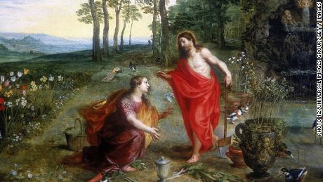 A woman, not a man, was the first person to preach an Easter sermon, according to the Bible. A painting shows a resurrected Jesus appearing first to Mary Magdalene.