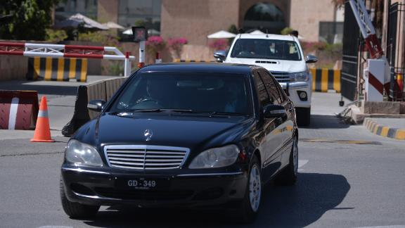 The car carrying Pakistani activist and Nobel Peace Prize laureate Malala Yousafza and her father leaves for Prime Minister House Thursday, March 29.