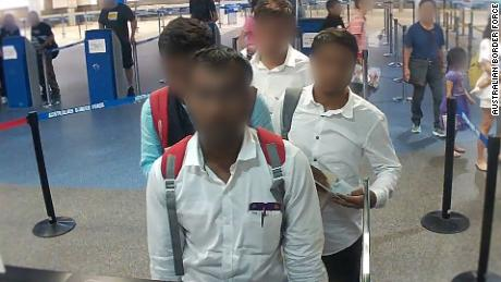 The Australian Border Force released images of the group queuing up at Brisbane Airport on Wednesday, March 28.