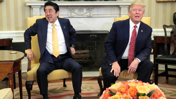 WASHINGTON, DC - FEBRUARY 10:  (CHINA OUT, SOUTH KOREA OUT) Japanese Prime Minister Shinzo Abe and U.S. President Donald Trump talk during their bilateral meeting in the Oval Office at the White House on February 10, 2017 in Washington, DC. Trump and Abe are expected to discuss many issues, including trade and security ties.  (Photo by The Asahi Shimbun via Getty Images)