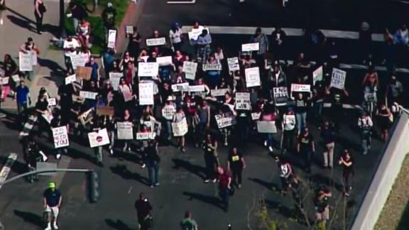 CA-Black Lives Matter March-Stephon Clark Shooting Death    Chopper Aerials beginning at the DA