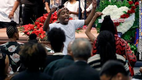 SACRAMENTO, CA - MARCH 29:  Stevante Clark, gestures, during the funeral services for police shooting victim Stephon Clark at Bayside Of South Sacramento Church March 29, 2018 in Sacramento, California. Clark, who was unarmed, was shot and killed by Sacramento Police Officers, Sunday, March 18, 2018. (Photo by Jeff Chiu-Pool/Getty Images)