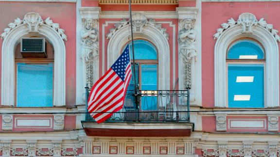 The flag of the United States flies outside the US Consulate building in St. Petersburg ahead of its announced closure by Russian Foreign Minister Sergey Lavrov.