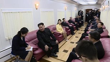 Chinese officials hold a meeting with Kim on the train at Dandong.