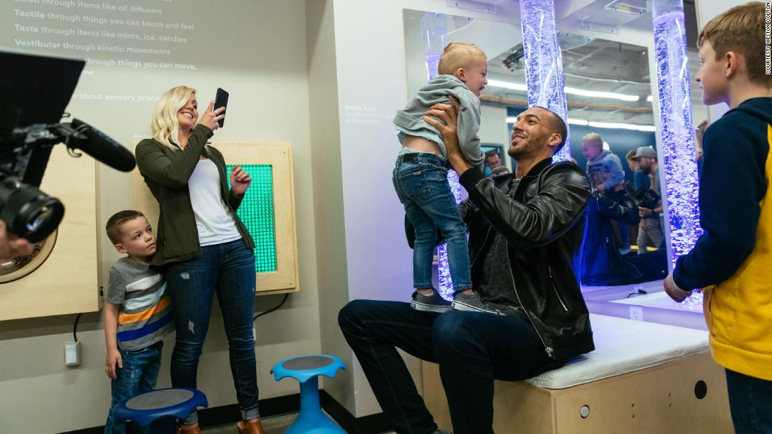 At a preview of the new sensory room at the Vivint Smart Home Arena, young fans had the opportunity to meet Utah Jazz player Rudy Gobert.
