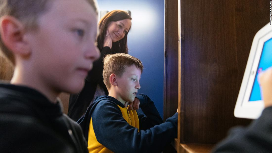 Max Pratt, 10, and Jackson Pratt, 9, are Utah Jazz and Rudy Gobert fans. Jackson's favorite part of the sensory room was the technology station.