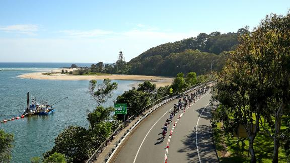 Road cycling and race walking will start and finish on the picturesque Currumbin Bay. Pictured is a test event of the Cycling Road Race.