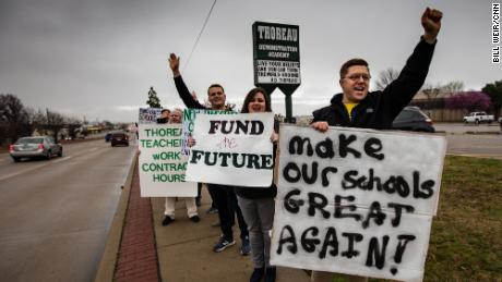 Oklahoma teachers are demanding higher pay and more support for schools.