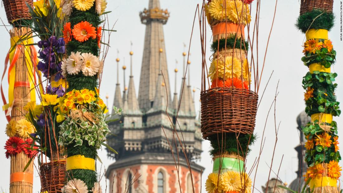 Giant Easter palms are on display Tuesday, March 27, at the Easter market in Krakow, Poland.