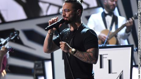 LAS VEGAS, NV - NOVEMBER 15:  Maluma performs onstage during rehearsals for the 18th annual Latin Grammy Awards at MGM Grand Garden Arena on November 15, 2017 in Las Vegas, Nevada.  (Photo by Kevin Winter/Getty Images for LARAS)
