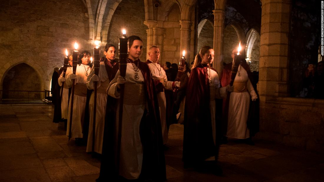The silent Procession of the Christ of Peace takes place Thursday, March 29, in Santander, Spain. At midnight on Holy Thursday, the procession of Nazarenes walks the streets of the city, going with torches and in complete silence. It is one of the region's most solemn Holy Week processions.