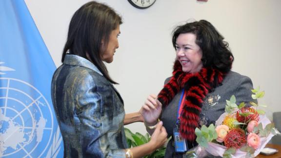 UK Ambassador to the UN Karen Pierce and US Ambassador to the UN Nikki Haley. (Nikki Haley/Twitter)
