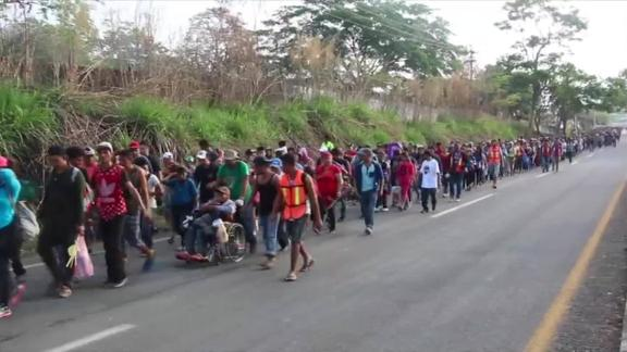 The group of Central American immigrants made their way into Mexico last week.