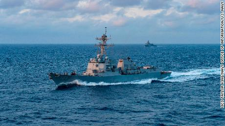 180329-N-NM806-0019  PHILIPPINE SEA (March 29, 2018) The Arleigh Burke-class guided-missile destroyer USS Dewey (DDG 105) is underway in the Philippine Sea. (U.S. Navy photo by Mass Communication Specialist 3rd Class King/Released)