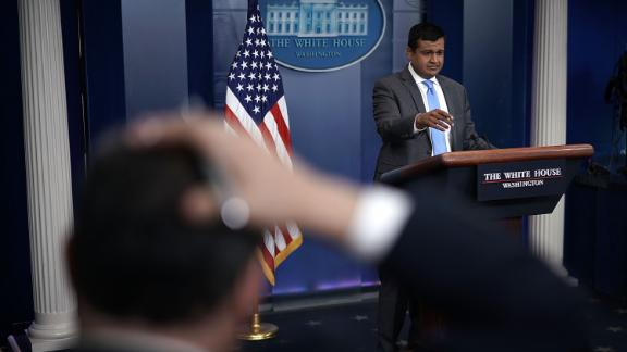 WASHINGTON, DC - MARCH 26:  White House Principal Deputy Press Secretary Raj Shah speaks during a White House daily news briefing at the James Brady Press Briefing Room of the White House March 26, 2018 in Washington, DC. Shah held a daily briefing to answer questions from members of the White House Press Corps.  (Photo by Alex Wong/Getty Images)