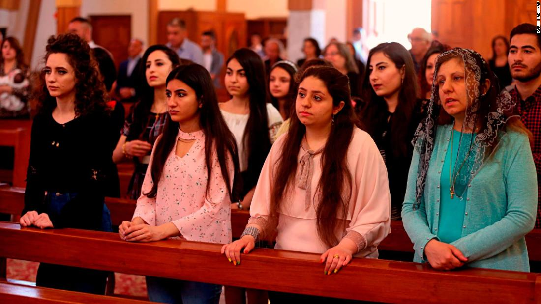 Iraqi Christians attend Easter Mass in Our Lady of Salvation Church in Baghdad, Iraq, on April 1.