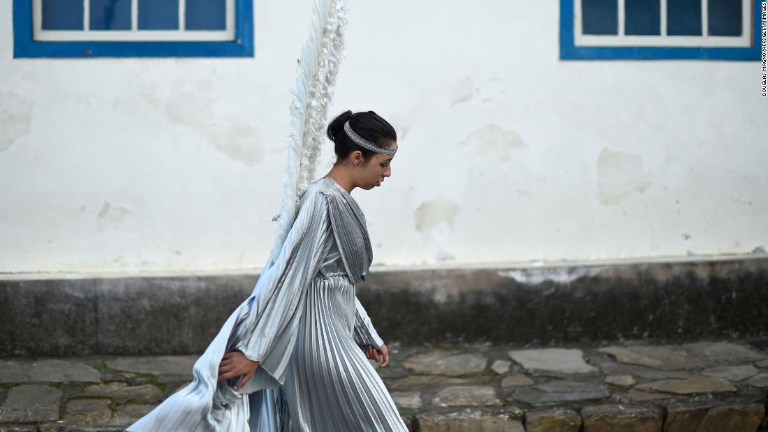 A Catholic participates in an Easter Sunday procession representing the resurrection of Christ, in the Brazilian historic city of Ouro Preto, Minas Gerais state, on April 1.