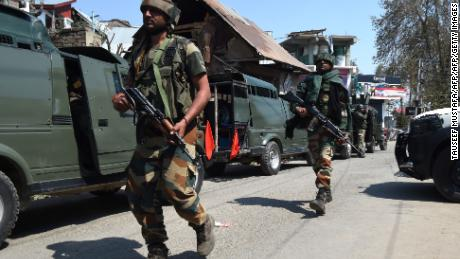 Indian army soldiers during a gun battle with militants in Kashmir on April 1, 2018.