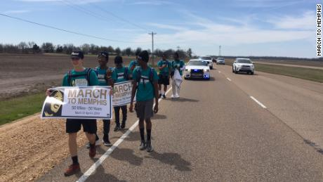 Six teens are marching from northern Mississippi to Memphis in a walking tribute to Martin Luther King Jr.