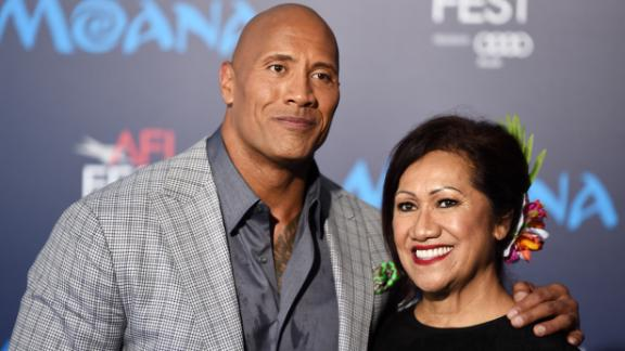 """Actor Dwayne Johnson and his mother Ata Johnson arrive at the AFI FEST 2016 Presented By Audi premiere of Disney's """"Moana"""" at the El Capitan Theatre on November 14, 2016 in Hollywood, California."""