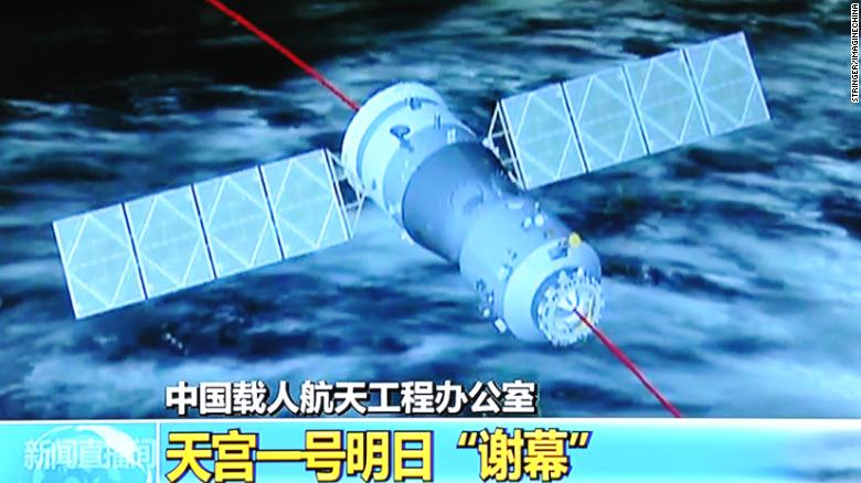 This TV grab taken from CCTV (China Central Television) on 1 April 2018 shows a file photo of Tiangong-1, China's experimental space lab, before it plunged to Earth.
