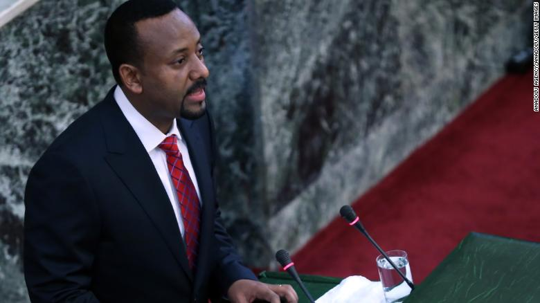 Abiye Ahmed, the new prime minister of Ethiopia, addresses the nation's parliament on Monday.