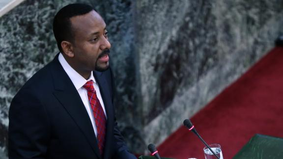 ADDIS ABABA, ETHIOPIA - APRIL 2:   Ethiopia's newly appointed Prime Minister Abiy Ahmed addresses the members of the Ethiopian parliament in Addis Ababa, after the swearing in ceremony on April 2, 2018.   (Photo by Minasse Wondimu Hailu/Anadolu Agency/Getty Images)