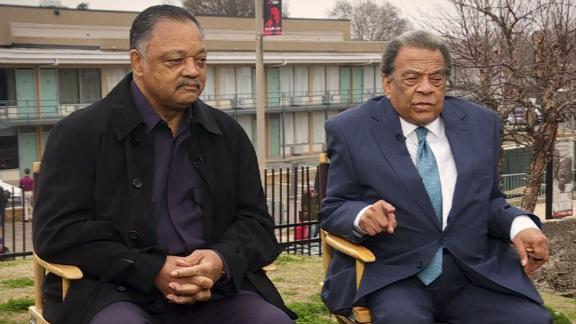Jesse Jackson and Andrew Young at the site of Martin Luther King Jr.'s death.