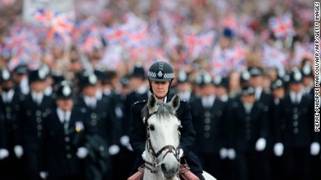 Around 5,000 police officers were deployed on the streets of London for the wedding of Prince William and Kate Middleton in 2011.