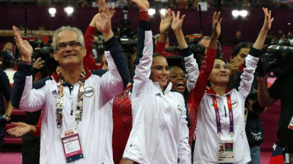 Former US gymnastics coach John Geddert, seen here at the London Olympic Games in July 2012.