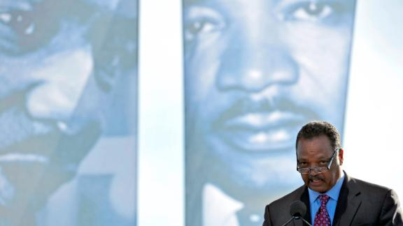 """Reverend Jesse Jackson speaks to the crowd at the Martin Luther King, Jr. Memorial Dedication ceremony in Washington, DC on October 16, 2011. The long awaited dedication of the US national memorial to slain civil rights icon Martin Luther King had been rescheduled from the 48th anniversary date of King's """"I Have A Dream"""" speech due to Hurricane Irene. AFP PHOTO Mladen ANTONOV (Photo credit should read MLADEN ANTONOV/AFP/Getty Images)"""