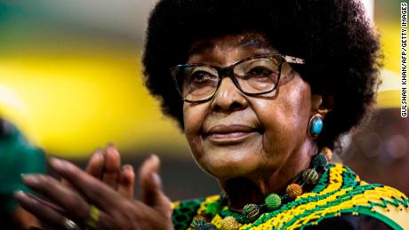 Winnie Mandela, former wife of former president Nelson Mandela, attends the last day of the NASREC Expo Centre in Johannesburg on December 20, 2017, during the African National Congress (ANC) 54th National Conference. / AFP PHOTO / GULSHAN KHAN        (Photo credit should read GULSHAN KHAN/AFP/Getty Images)