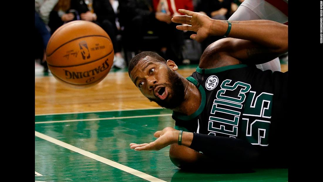 Boston center Greg Monroe watches the ball go out of bounds during an NBA game against Toronto on Saturday, March 31.