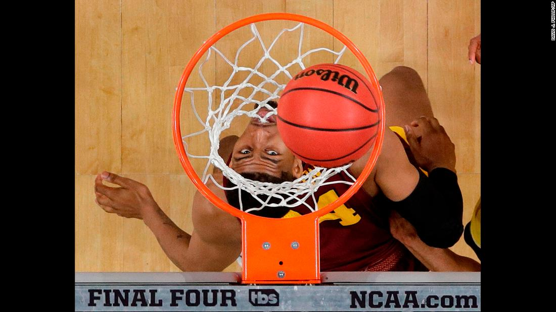 "Loyola's Aundre Jackson watches a shot as he plays in the Final Four on Saturday, March 31. <a href=""https://www.cnn.com/2018/03/31/sport/2018-ncaa-mens-final-four/index.html"" target=""_blank"">Loyola's Cinderella run ended</a> with a 69-57 loss to Michigan."