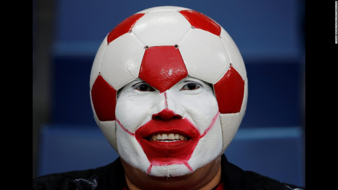 A soccer fan attends an international friendly between Switzerland and Panama on Tuesday, March 27.