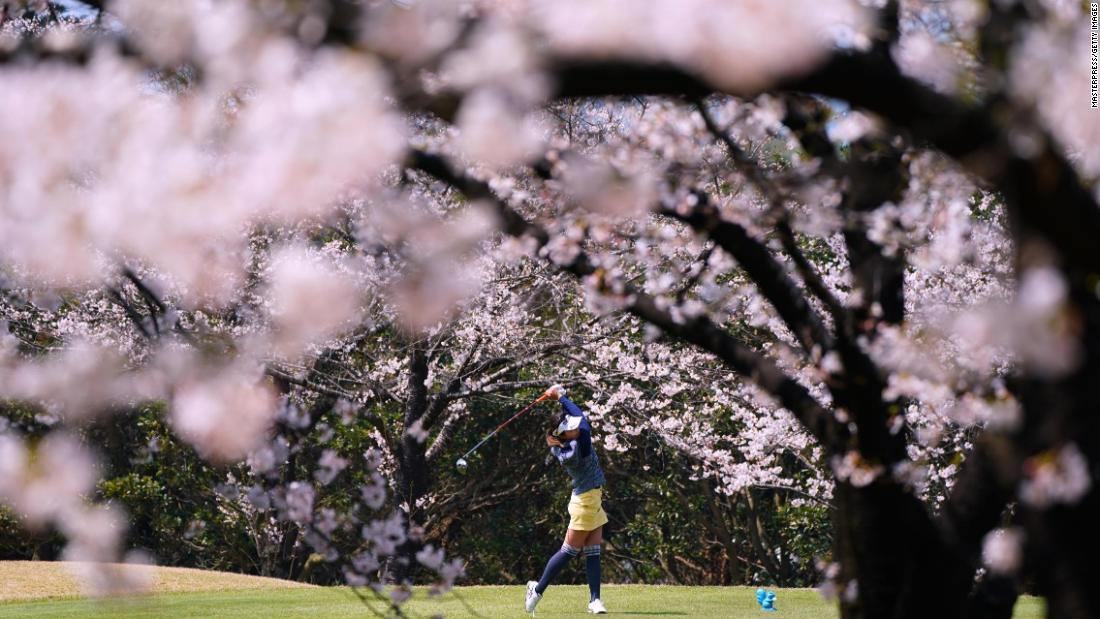 Riko Inoue hits a tee shot during a tournament in Itoshima, Japan, on Wednesday, March 28.