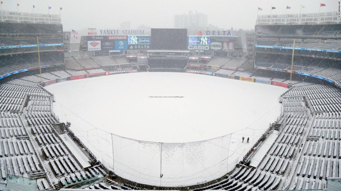 Snow covers Yankee Stadium on Monday, April 2. The New York Yankees had to postpone their home opener.