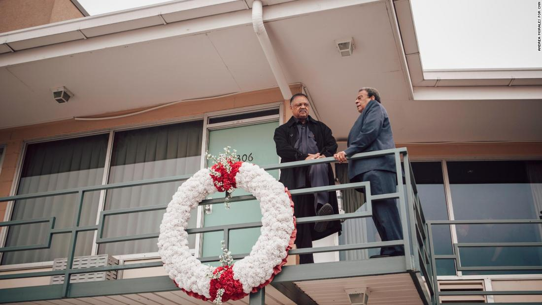 Jackson and Young reminisce on the motel balcony. Both were downstairs at the moment Martin Luther King Jr. was shot.