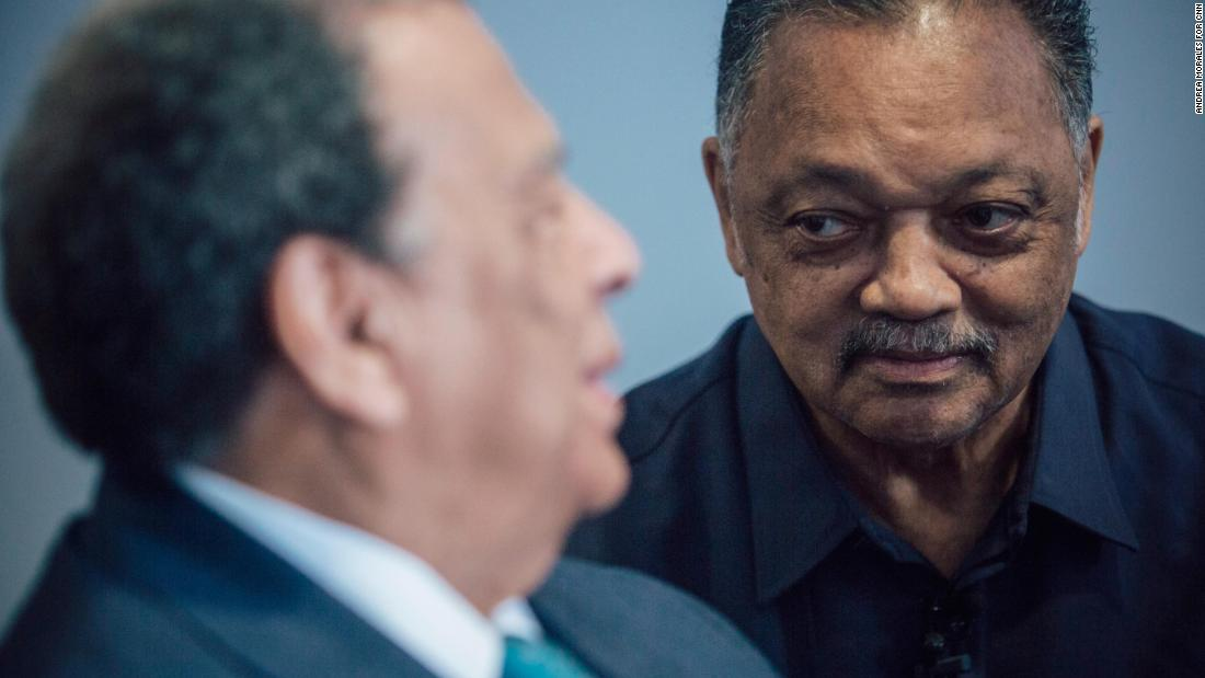 Andrew Young, left, and the Rev. Jesse Jackson visit the National Civil Rights Museum last month in Memphis.