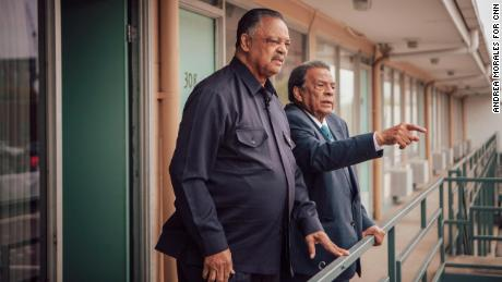 MEMPHIS, TN - March 25, 2018: Rev. Jesse Jackson (left) and Andrew Young (right) visit the balcony at the Lorraine Motel in Memphis where they were standing with Dr. Martin Luther king jr. the day he was killed.