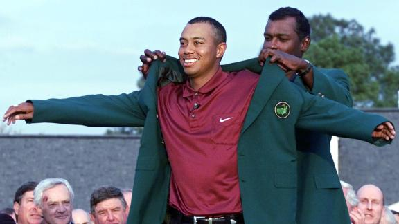 Woods was awarded his second green jacket by Fiji's Vijay Singh in 2000.