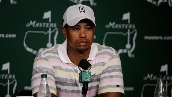 Woods faced the media on his reappearance at the Masters in 2010.