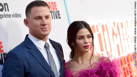 "Channing Tatum (L) and his wife Jenna Dewan Tatum arrive at the premiere of Amazon's ""Comrade Detective"" at the Arclight Theatre on August 3, 2017 in Los Angeles, California.  (Photo by Kevin Winter/Getty Images)"