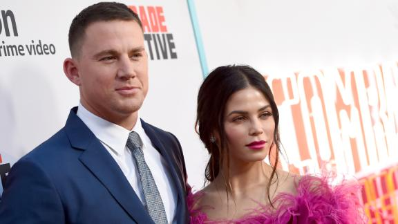 """Channing Tatum (L) and his wife Jenna Dewan Tatum arrive at the premiere of Amazon's """"Comrade Detective"""" at the Arclight Theatre on August 3, 2017 in Los Angeles, California.  (Photo by Kevin Winter/Getty Images)"""