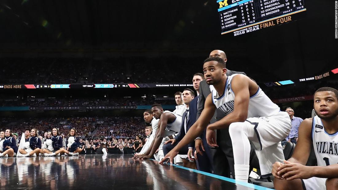 The Villanova bench watches the game during the first half.