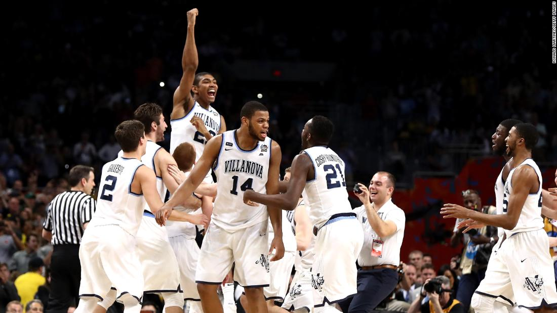 Villanova players celebrate after the final buzzer.