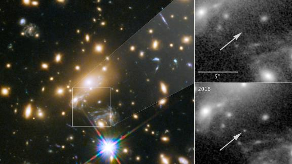Icarus is only visible because it is being magnified by the gravity of a massive galaxy cluster. The inset panels at right show the view in 2011, before Icarus was visible,  compared with the star's brightening in 2016.