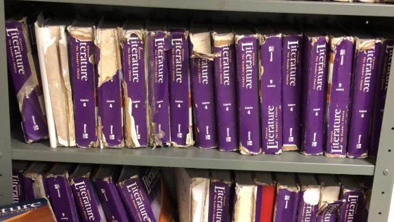 Sarah Jane Scarberry posted photos of her classroom's crumbling literature textbooks.